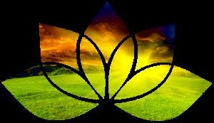 Lotus flower shape with green fields