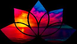 Aurora Hypnotherapy logo - colourful lotus flower graphic