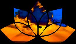 Lotus flower shape with sunrise over sea