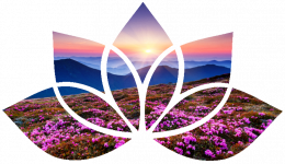 Lotus flower shape with sunrise over mountains and pink flowers